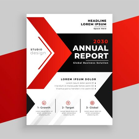 modern red theme annual report business template design 일러스트