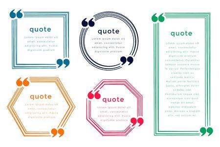 five line style quotation boxes template design