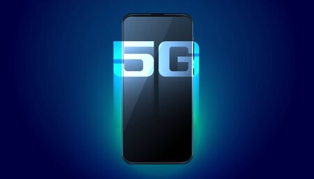 digital mobile 5G fifth generation fast speed technology background  イラスト・ベクター素材