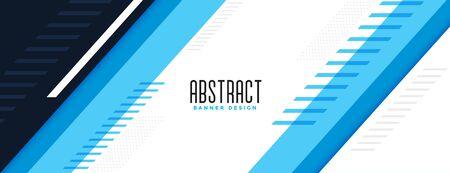 modern blue geometric wide banner stylish design