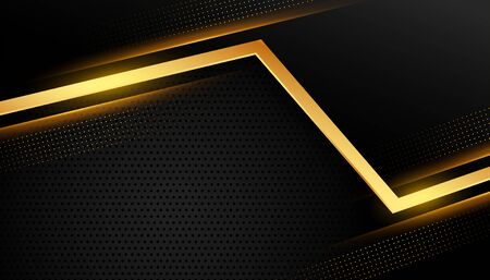 stylish golden abstract line on black background