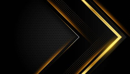 abstract dark black and gold shiny golden lines background