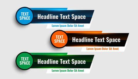 three modern lower third banners template design