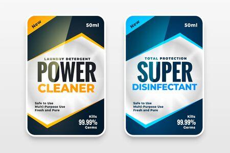 disinfectant cleaner washer labels template design set