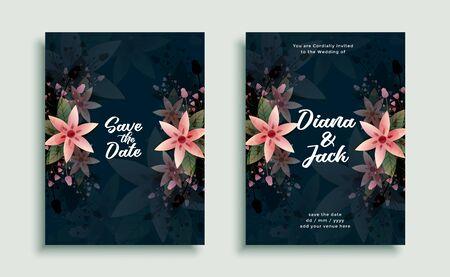 wedding flower decoration invitation card design template