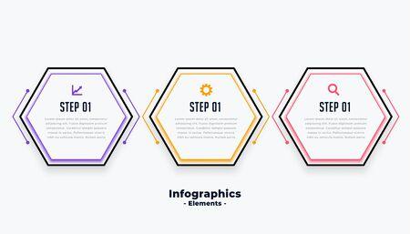 hexagonal shape three steps modern inforaphic template