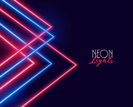 geometric red and blue neon lights background design
