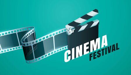 cinema film festival background with open clapper board design Illusztráció