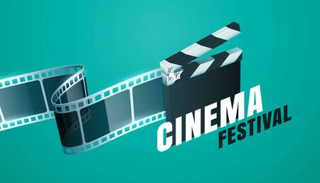 cinema film festival background with open clapper board design Illustration