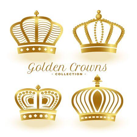 luxury golden royal crowns set of four Vektorgrafik