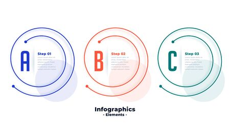 three steps infographic template in spiral line shape design Vettoriali