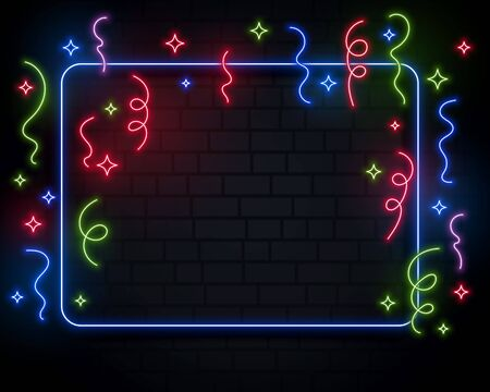 neon lights confetti celebration event background design