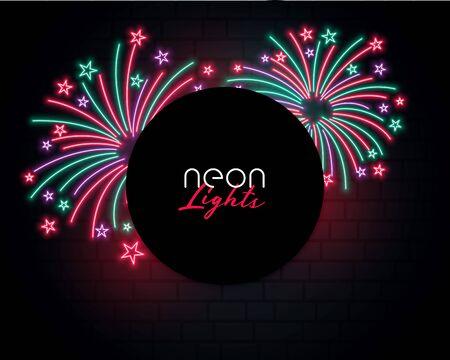 bursting firework background in neon style design