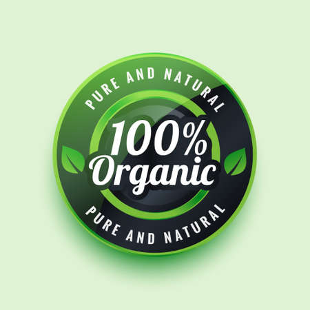 pure and natural organic label or badge design