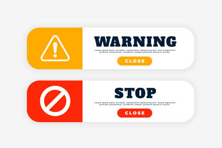 warning and stop sign button for web purpose Ilustração