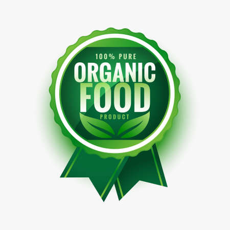 pure organic food green leaves label or sticker design
