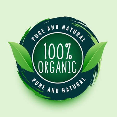 pure and natural organic label or sticker design