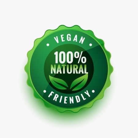 natural vegan friendly green leaves label or sticker design