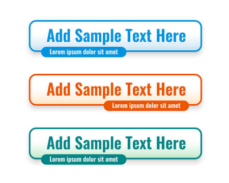 web lower third banners set in three colors 向量圖像
