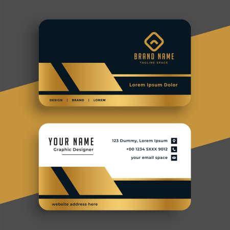 geometric golden premium business card design template Vetores