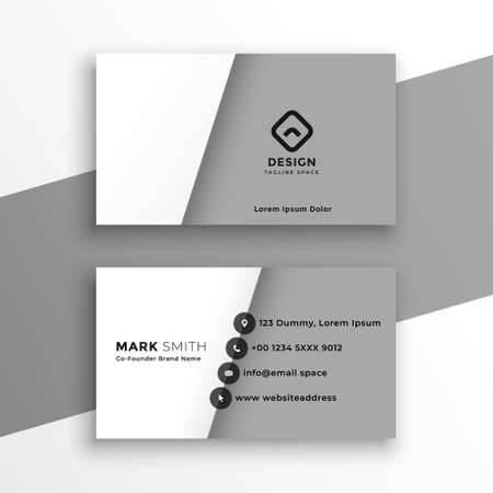 minimal style white and gray business card design Vettoriali
