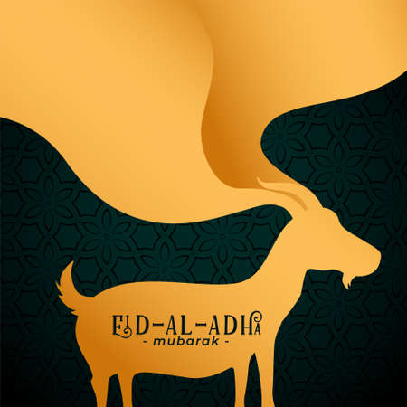happy bakrid festival card with golden goat