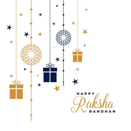 happy raksha bandhan rakhi and gifts background design