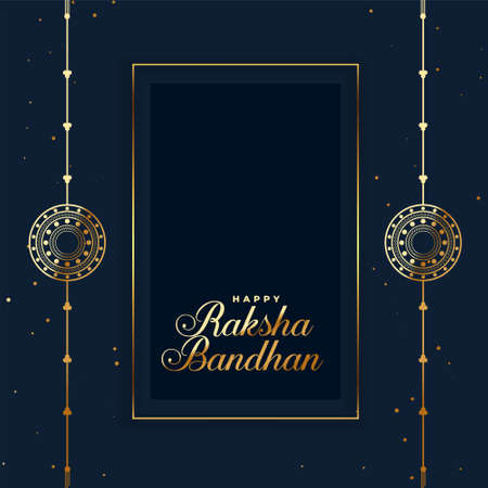 happy raksha bandhan indian festival card with rakhi
