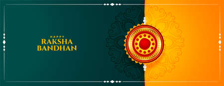 traditional hindu raksha bandhan festival banner design  イラスト・ベクター素材