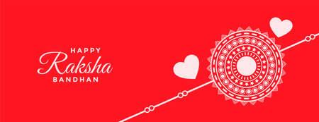 happy raksha bandhan red hearts banner design