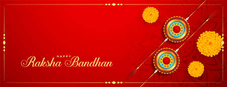 raksha bandhan festival banner with rakhi and marigold flower