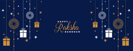 raksha bandhan blue rakhi and gifts banner design