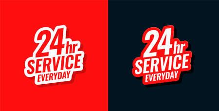 24 hour service everyday concept sticker design