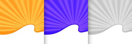 abstract sunburst background set of three colors