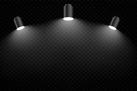 black background with three realistic focus light