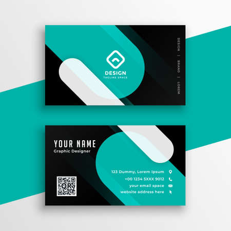modern turquoise and black business card template design