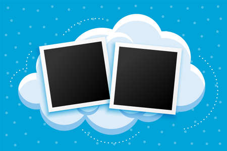 cartoon style photoframes and clouds background design