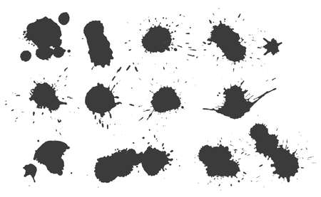 real ink drop splatter texture set