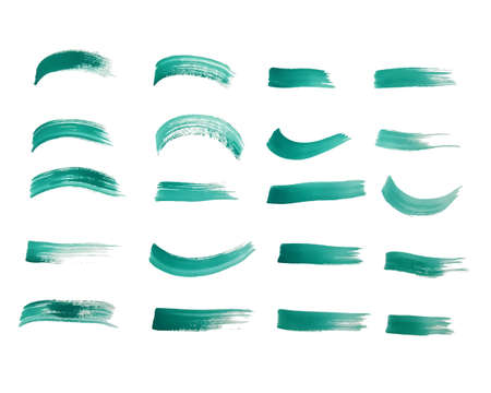 paint brush stroke set in turquoise color Иллюстрация