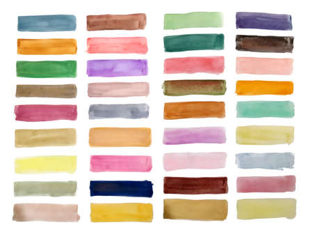 hand painted watercolor rectangles big set design 向量圖像