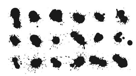 big set of ink drops splats design Иллюстрация