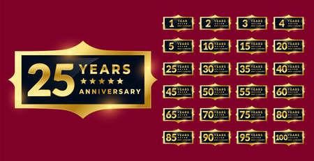 shiny golden anniversary labels or emblems set