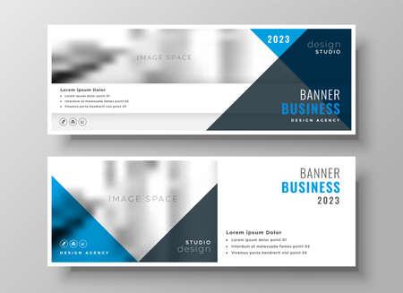 stylish business presentation banner in blue theme design