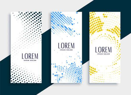 vertical halftone banners card set design