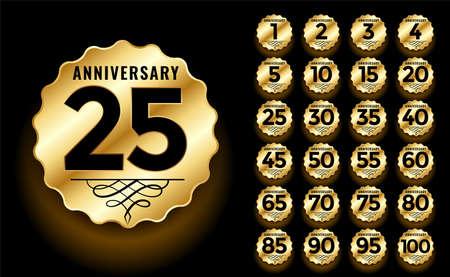 golden anniversary label and emblems set