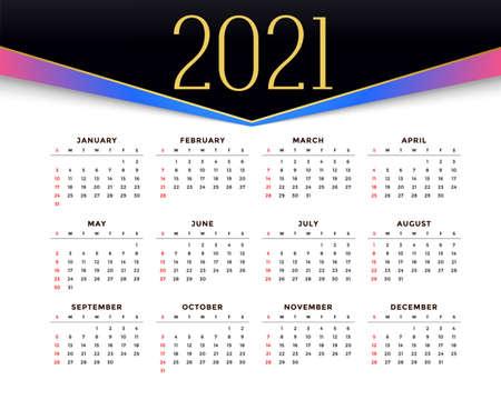 2021 stylish calendar design for new year