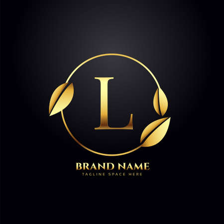 letter L golden leaves premium logo design Ilustrace