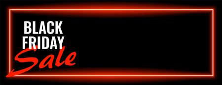 black friday sale neon wide banner design