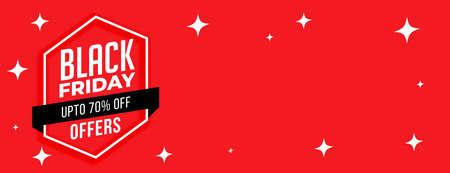 black friday stars red sale banner design