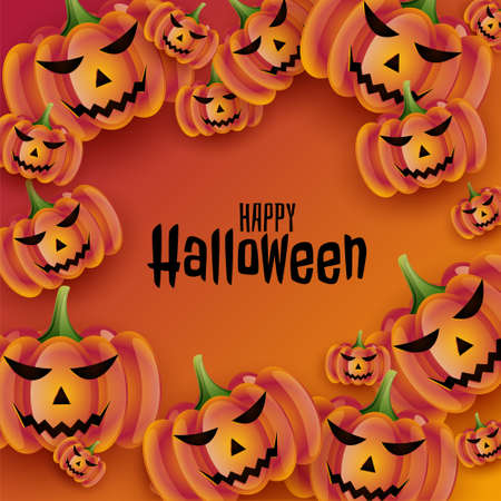 happy halloween background with realistic pumpkins